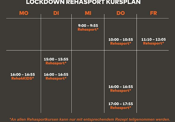 Fitnessstudio Koblenz Rehasport Lockdown Kursplan