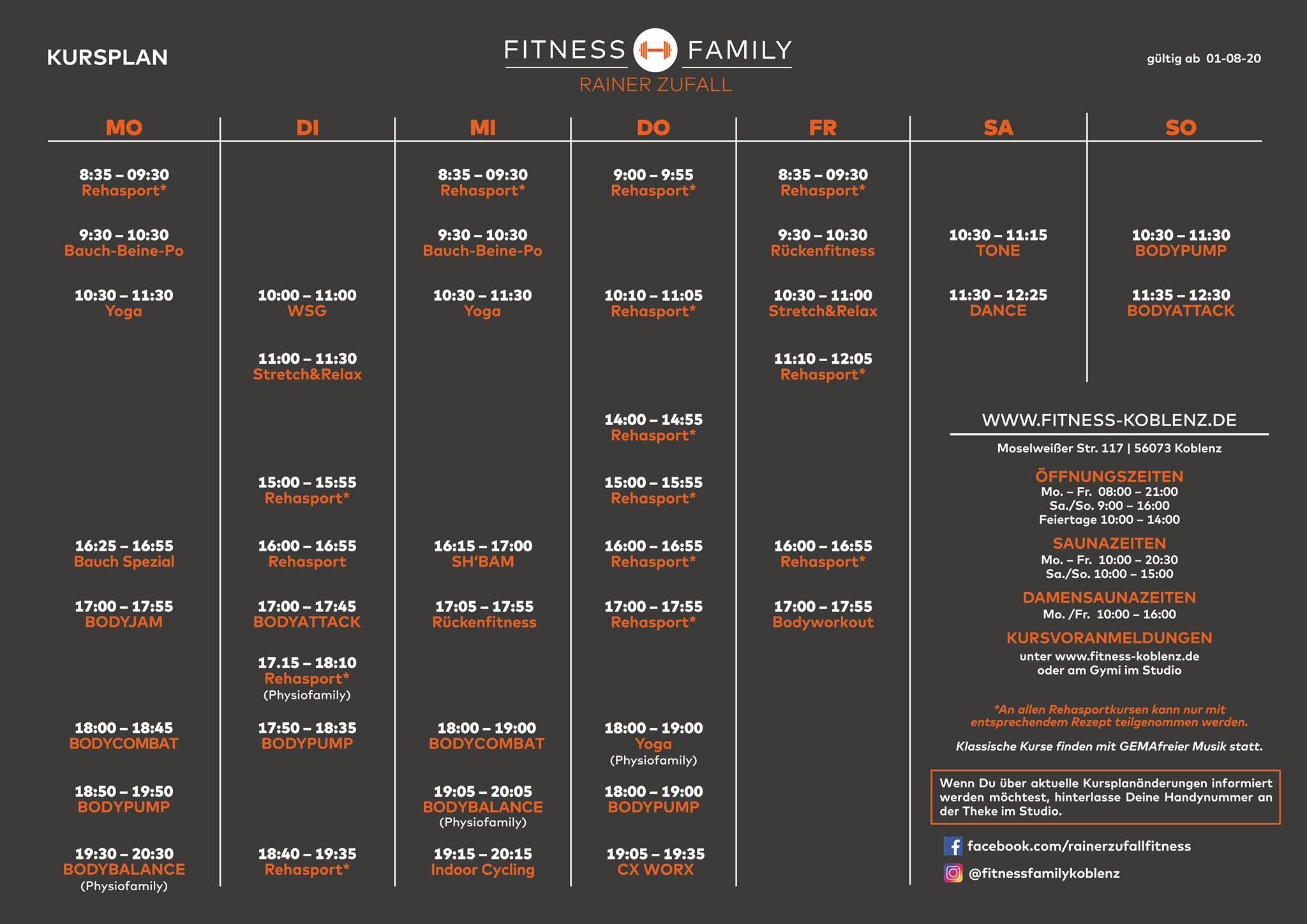 Fitness Family Koblenz Kursplan ab August 2020