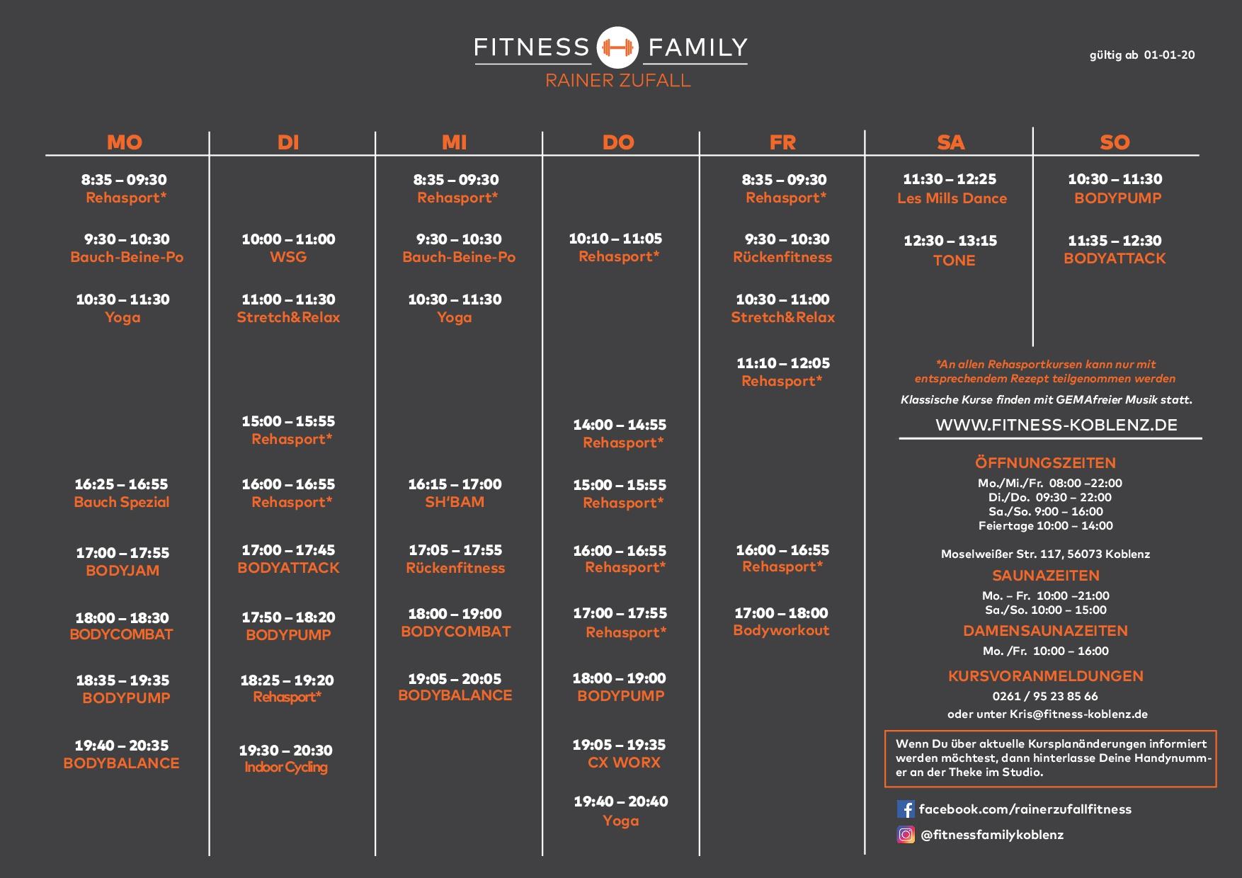 Kursplan Fitness Koblenz Januar 2020