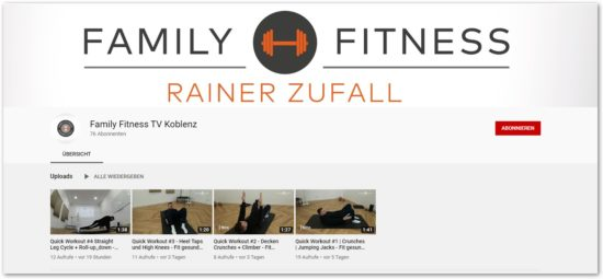 Fitness Koblenz - youtube Channel